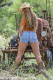 Brunette Model With a Tractor Stock Images