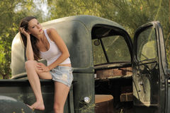 Brunette Model Vintage Pick Up Truck Stock Photography