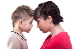 Brunette mother and blond son Stock Image