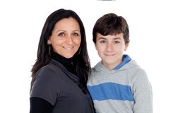 Brunette mother with his teenager son Royalty Free Stock Photography