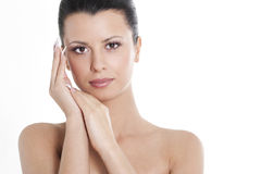 Brunette with natural make up and manicure Royalty Free Stock Photo