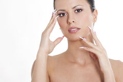 Brunette with natural make up and manicure Stock Photos
