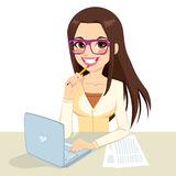 Brunette Nerd Secretary Working Stock Image