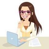 Brunette Nerd Secretary Working Stock Image
