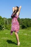 Brunette no prado Imagem de Stock