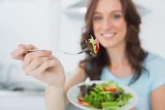 Brunette offering healthy salad Stock Images