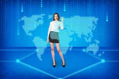 Brunette operating search interface Stock Photography