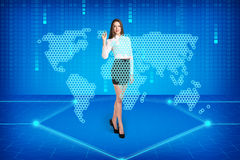 Brunette operating search interface Royalty Free Stock Images