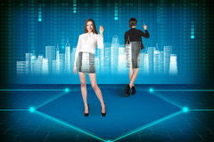 Brunette operating with search interface Royalty Free Stock Image