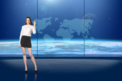 Brunette operating search interface Stock Photo
