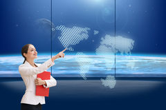 Brunette operating search interface Stock Images