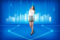 Brunette operating with search interface Stock Photography