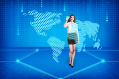 Brunette operating search interface Royalty Free Stock Image