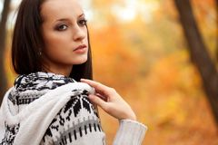 Brunette outdoors portrait Royalty Free Stock Images