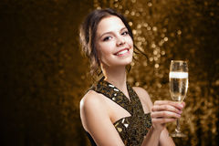 Brunette party girl. Royalty Free Stock Image