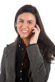 Brunette at phone Stock Photo