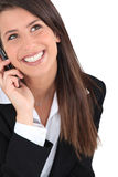 Brunette on the phone Stock Photo