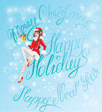 Brunette Pin Up Christmas Girl wearing Santa Claus suit Stock Images