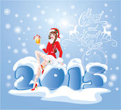 Brunette Pin Up Christmas Girl wearing Santa Claus suit. And stockings carrying present sitting on big icy numerals 2015 on blue background with snowflakes. New vector illustration