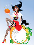 Brunette Pin Up Halloween Girl wearing witch suit. And stockings carrying pumpkin with black cat. Round frame for text Stock Photo