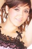 Brunette in pink dress Stock Photo