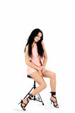Brunette in a pink dress Royalty Free Stock Image