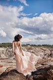 Brunette in pink dress stands on a cliff, the wind ruffles a dre. Ss, a tender image of a girl. Fabulous mountain landscape. Woman in the wind Royalty Free Stock Photography