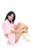 Brunette in pink sweater royalty free stock images