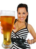 Brunette with a pint of beer. Sexy brunette with ice blue eyes and a pint of beer  isolated on white Royalty Free Stock Image