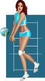 Brunette playing volley Royalty Free Stock Photography