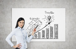 A brunette is pointing out problems and solution flowchart. A concept of business presentation. Stock Image