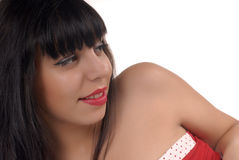 Brunette portrait. Close-up portrait of smiling brunette girl posing on white background Royalty Free Stock Photos