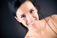 brunette portrait smiling woman Στοκ Εικόνες