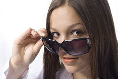 Brunette portrait with sunglasses Stock Image
