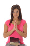 Brunette praying Royalty Free Stock Photos