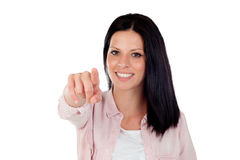 Brunette pretty girl indicating something with the finger Royalty Free Stock Photo