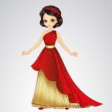 Brunette Princess In Red Dress. Vector illustration of beautiful brunette princess in red dress from fairytale royalty free illustration