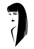 Brunette profile. Beautiful brunette woman with long straight hair style - black and white simple vector design Stock Images