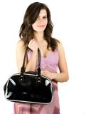 Brunette with purse Royalty Free Stock Images