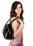 Brunette with purse Stock Photo