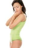 Brunette que desgasta la ropa interior verde Imagen de archivo