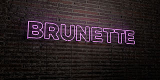 BRUNETTE -Realistic Neon Sign on Brick Wall background - 3D rendered royalty free stock image Stock Images