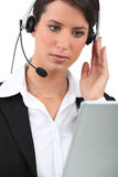 Brunette receptionist Royalty Free Stock Photos