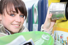 Brunette recycling Stock Photography
