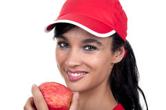 Brunette with red apple Royalty Free Stock Images