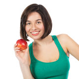Brunette and red apple Stock Image