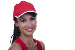 Brunette with red cap. Isolated Royalty Free Stock Photos