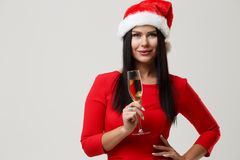 Brunette in red at Christmas Royalty Free Stock Image