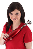 Brunette in red polo Stock Photography