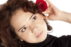 Brunette with a red rose Stock Images